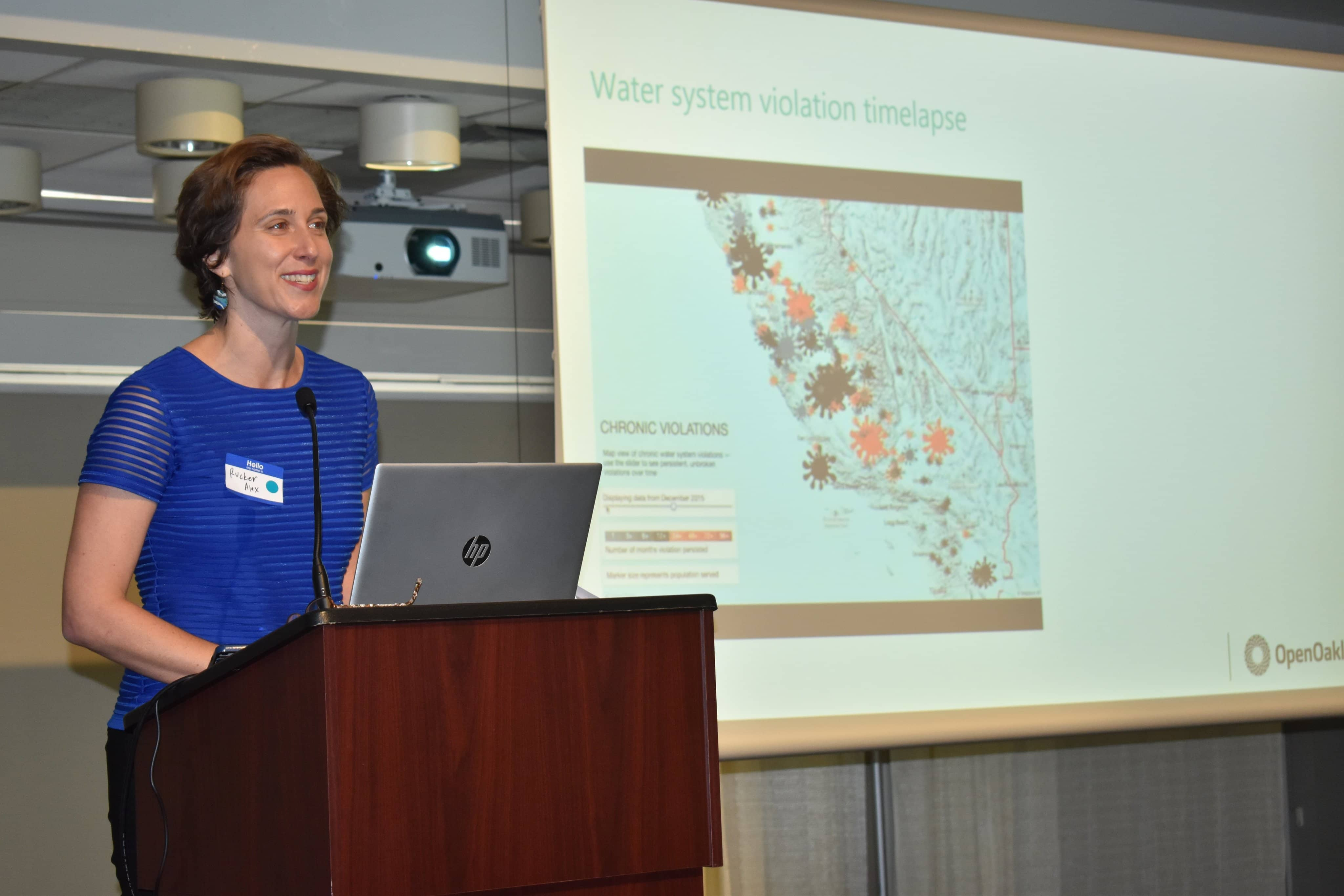 Rucker Alex presenting at the 2019 CA Water Data Challenge in Sacramento